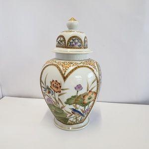 "Other - Vintage Fancy floral Urn with Bird scenes 10 1/2"""